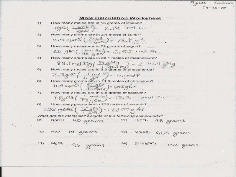 Mole Calculation Worksheet Mole Calculation Worksheet Answers