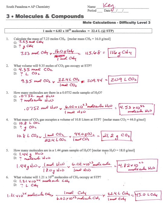 Mole To Grams Grams To Moles Conversions Worksheet Answers Mole To
