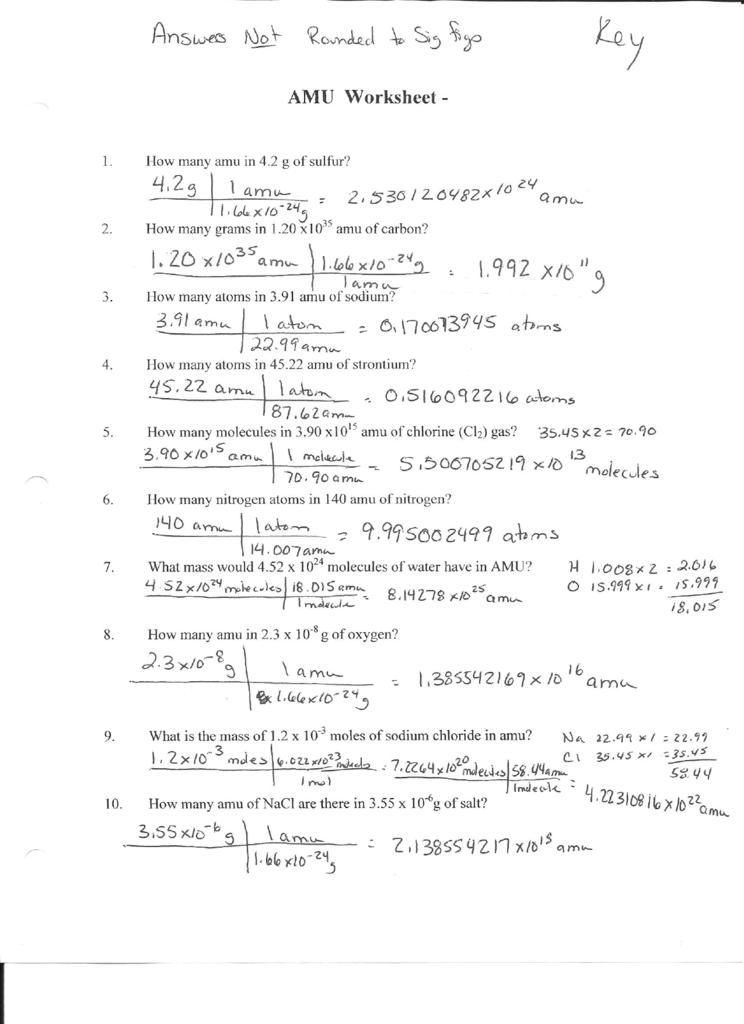 Mole To Grams Worksheet 360649
