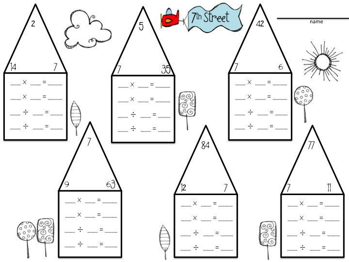 Multiplication And Division Fact Families Worksheets 3rd Grade
