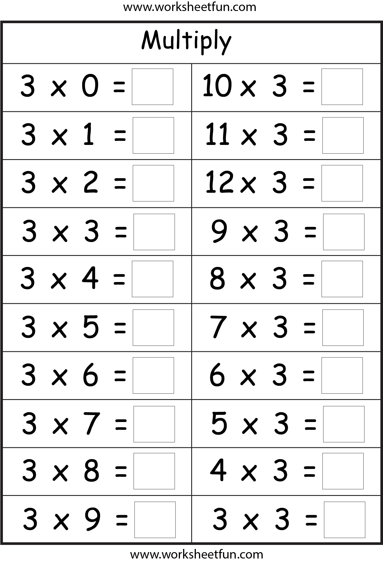 Multiplication Worksheets 3 And 4 Times Tables 507591