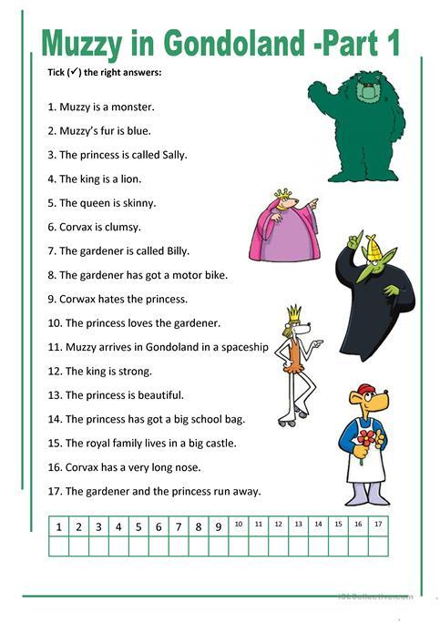 Muzzy In Gondoland 1 6 Worksheet