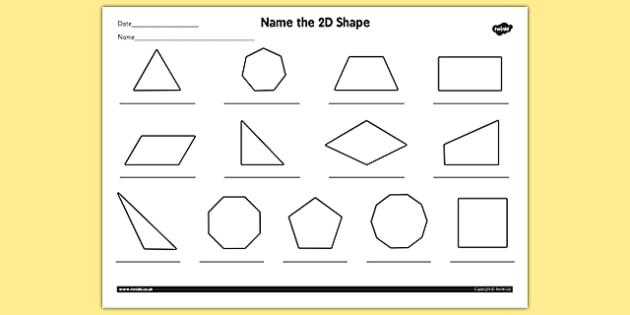 Name The 2d Shape Year 4 Worksheet