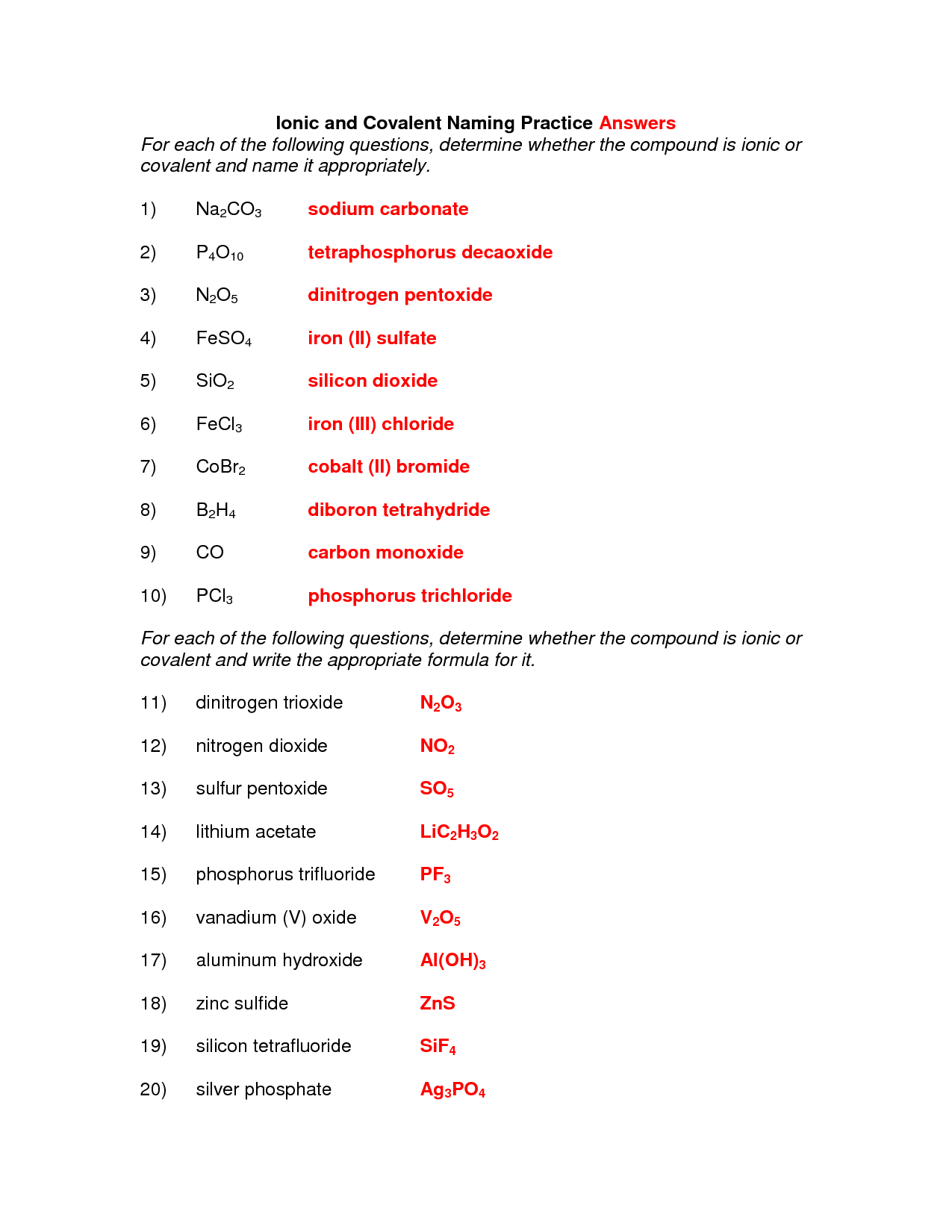 Naming Ionic Compounds Practice Worksheet Expandingme Co
