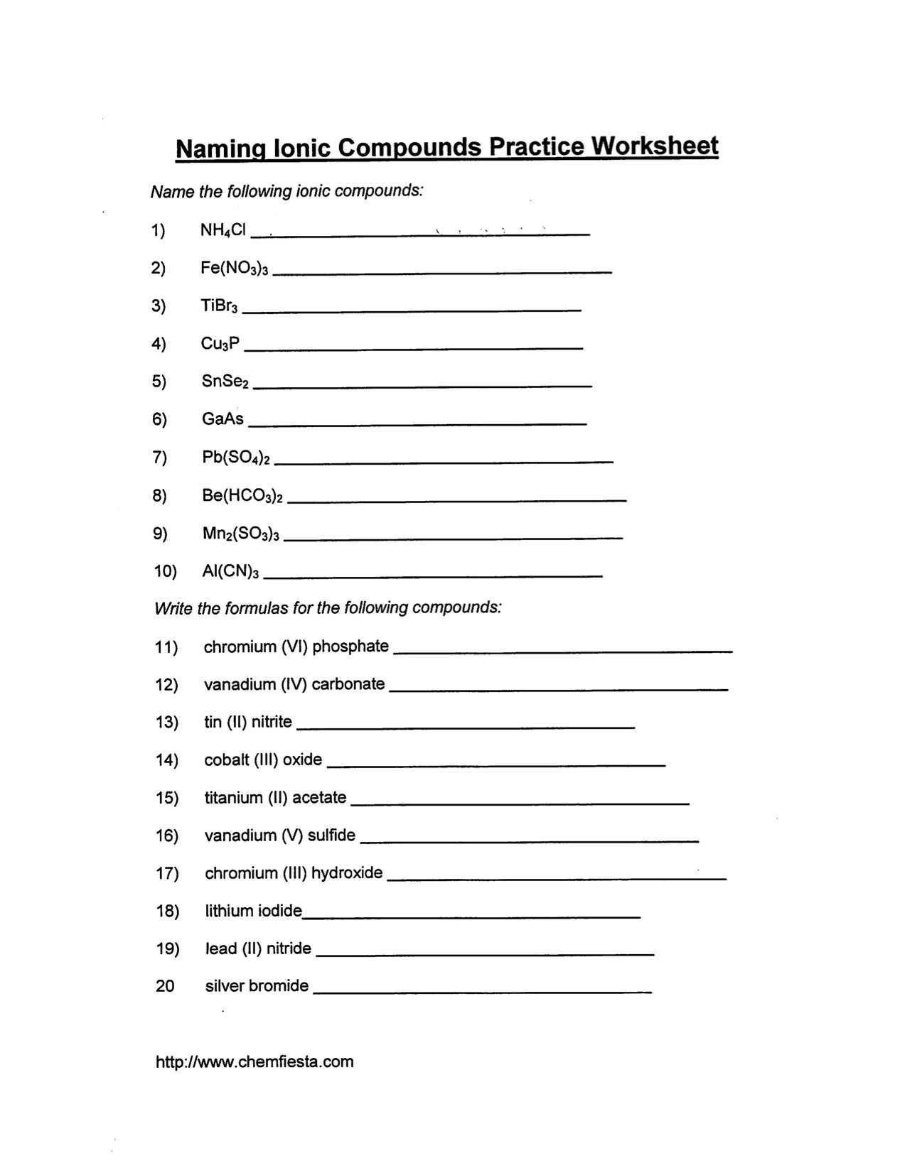 Naming Ionic Compounds Practice Worksheet Key The Best Worksheets