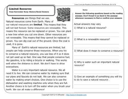 Natural Resources Worksheets Limited Resources 2nd Grade Reading