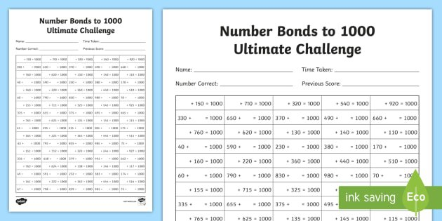 New   Lks2 Maths Number Bonds To 1000 Ultimate Activity Sheet