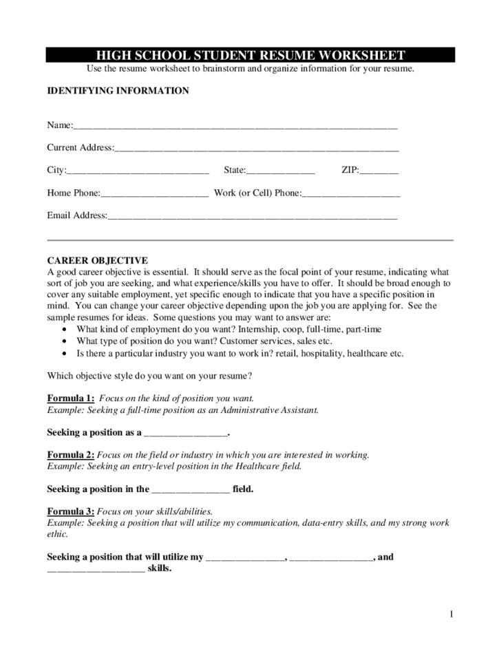 Nice Decoration Resume Worksheet For High School Students Resume
