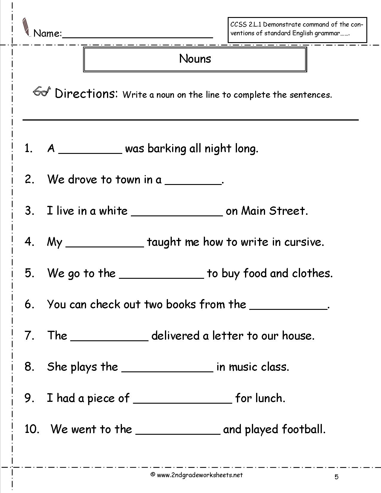 Noun Worksheets For 2nd Grade The Best Worksheets Image Collection