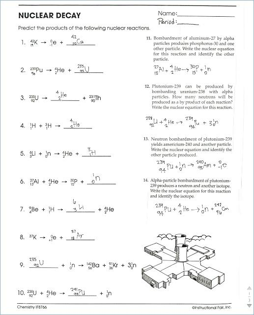 Nuclear Chemistry Worksheet Decay Answers And General