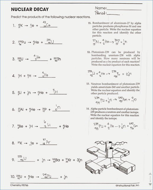 Nuclear Chemistry Worksheet Nuclear Chemistry Worksheet Nuclear