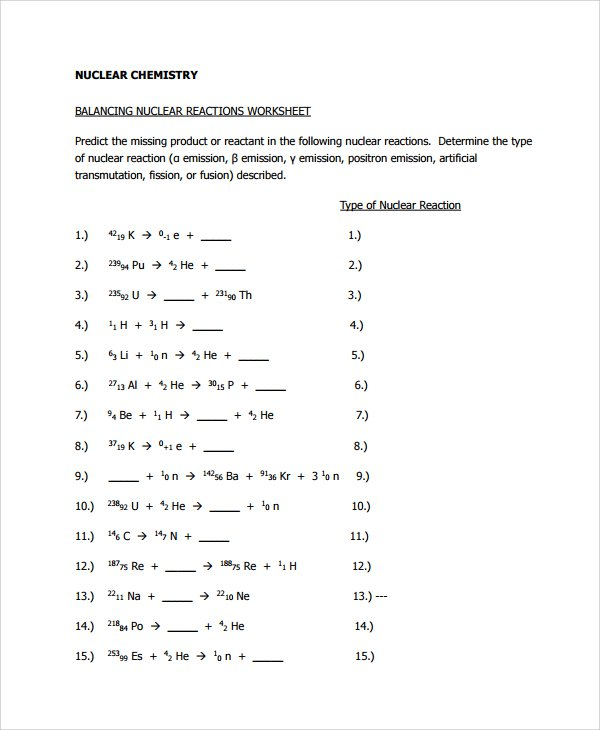 Nuclear Equations Worksheet Nuclear Equations Worksheet Equations