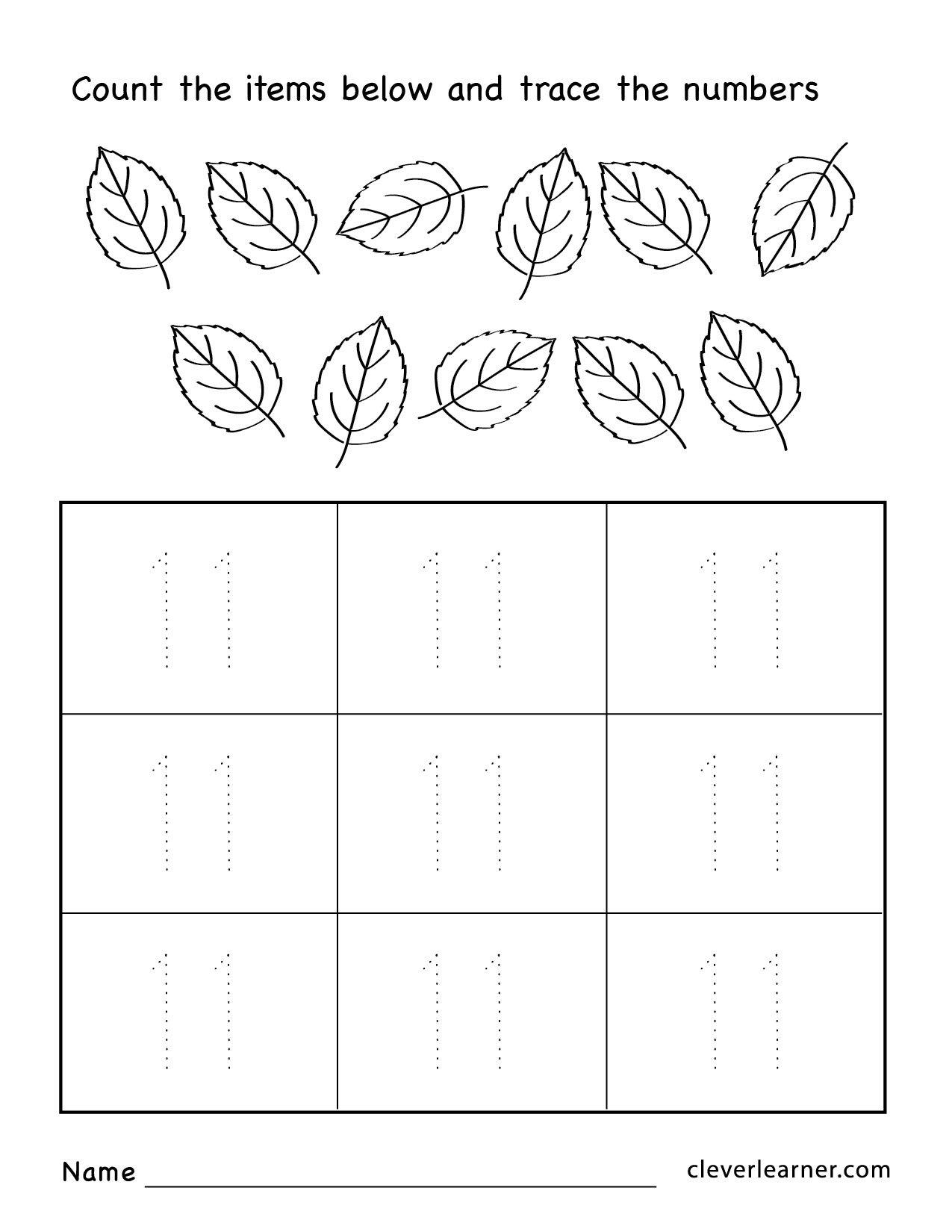 Number 11 Worksheet For Preschool