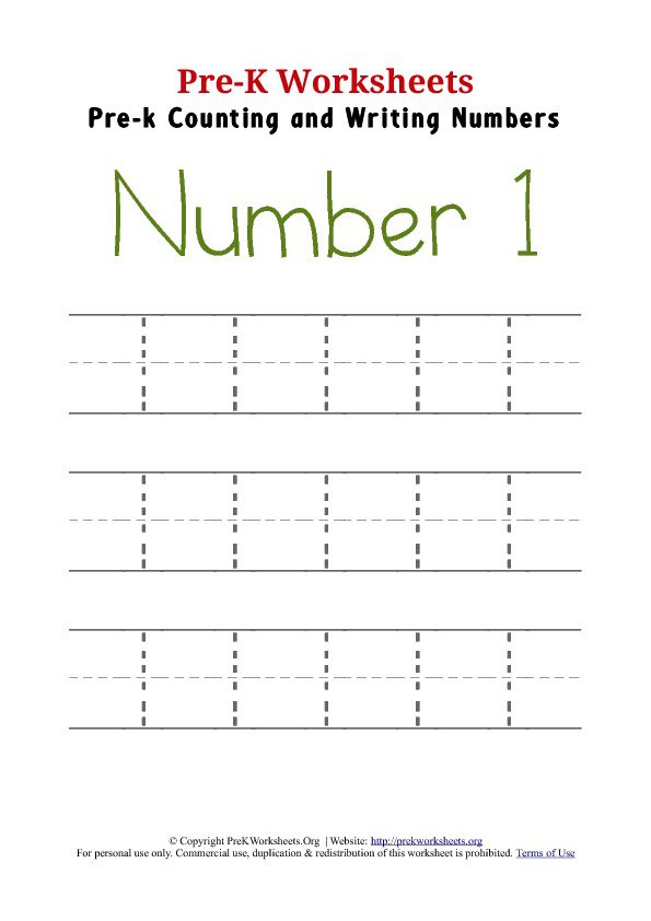 Number 1 Preschool Worksheet The Best Worksheets Image Collection