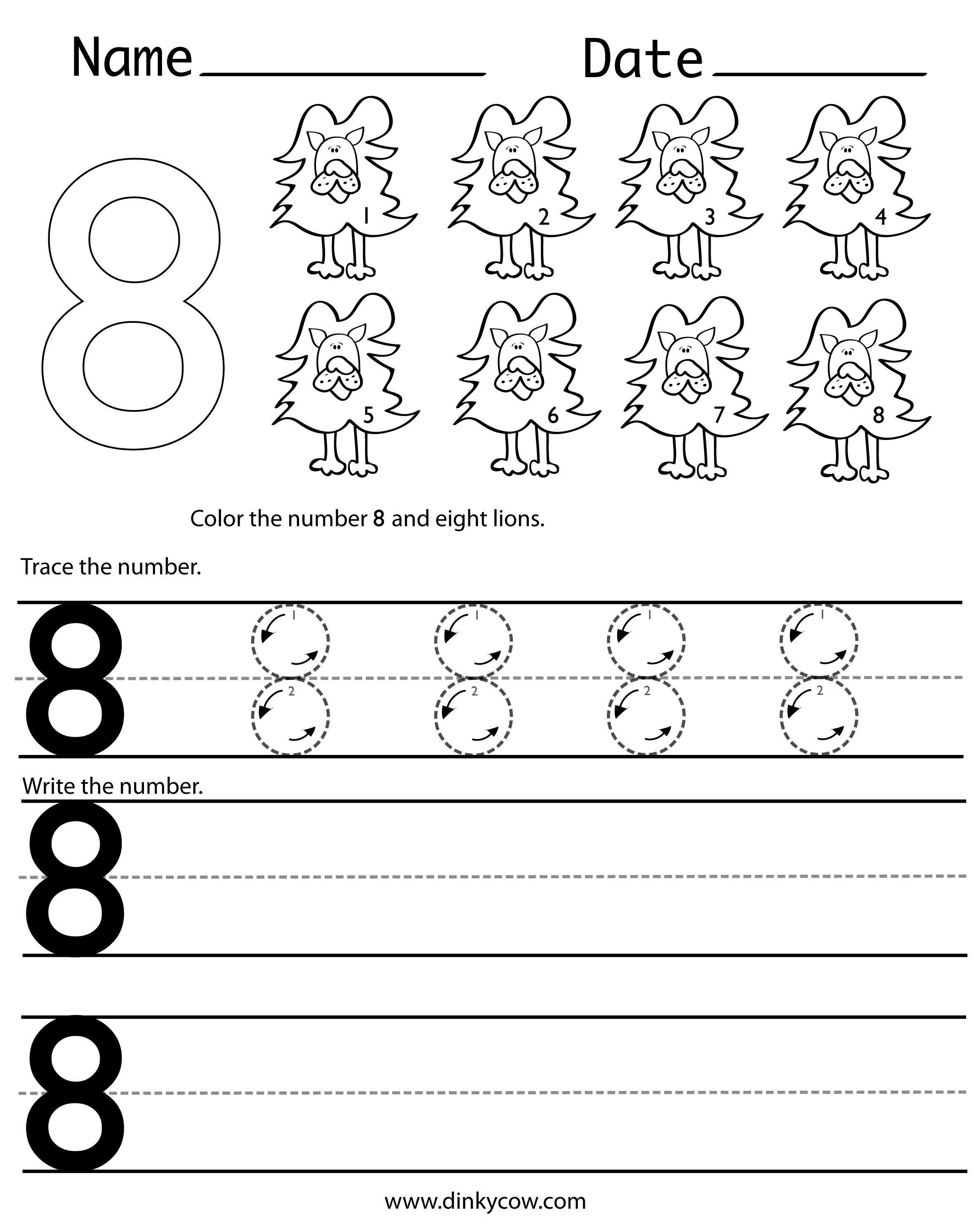 Number 8 Preschool Worksheets