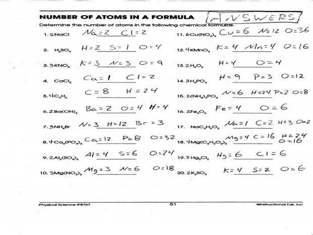 Number Of Atoms In A Formula Worksheet Answers