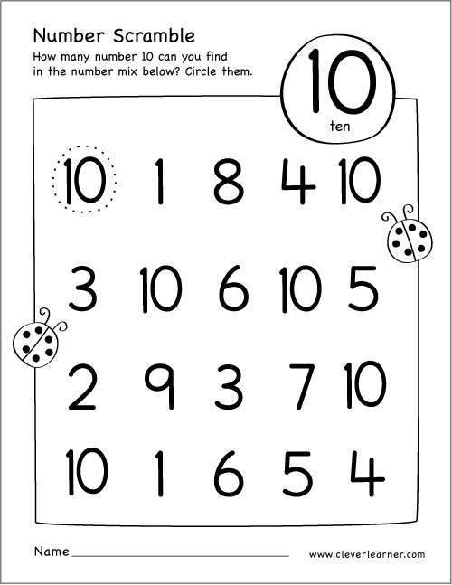 Number Scramble Activity Worksheet For Number 10 For Preschool