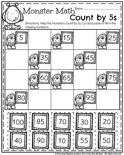 October First Grade Worksheets Cut And Paste Math Worksheets For