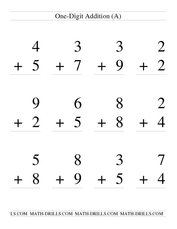 One Digit Addition Worksheets First The Best Worksheets Image