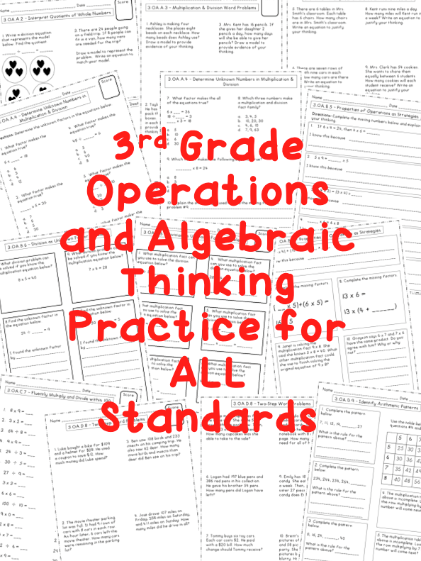 Operations And Algebraic Thinking 3rd Grade Common Core