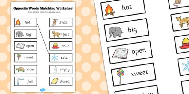 Opposite Words Matching Worksheet
