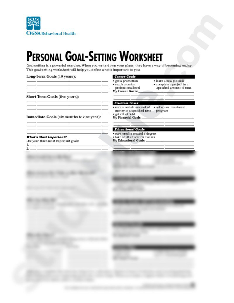 Personal Goal Setting Worksheet The Best Worksheets Image