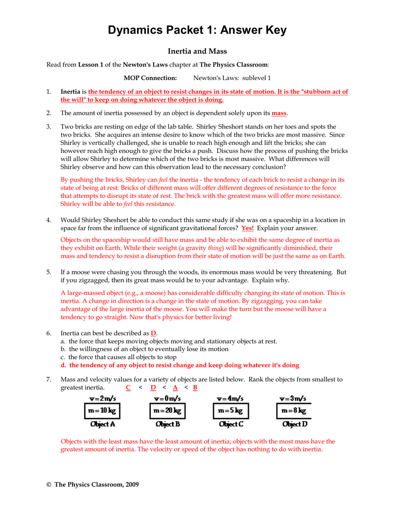 Physical Science Newton S Second Law Worksheet Answers
