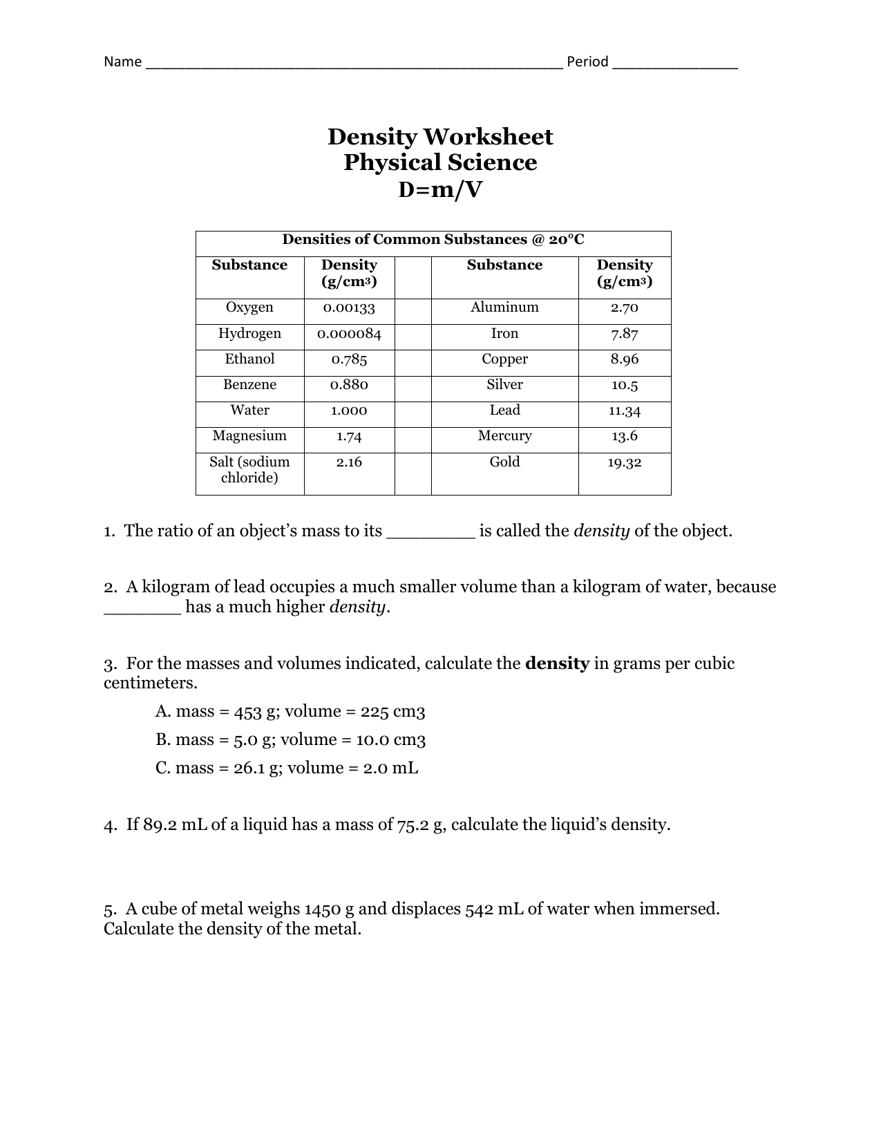 Physical Science Worksheet Answers The Best Worksheets Image