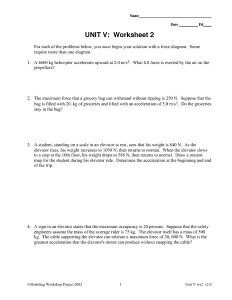 Physics Forces Worksheet
