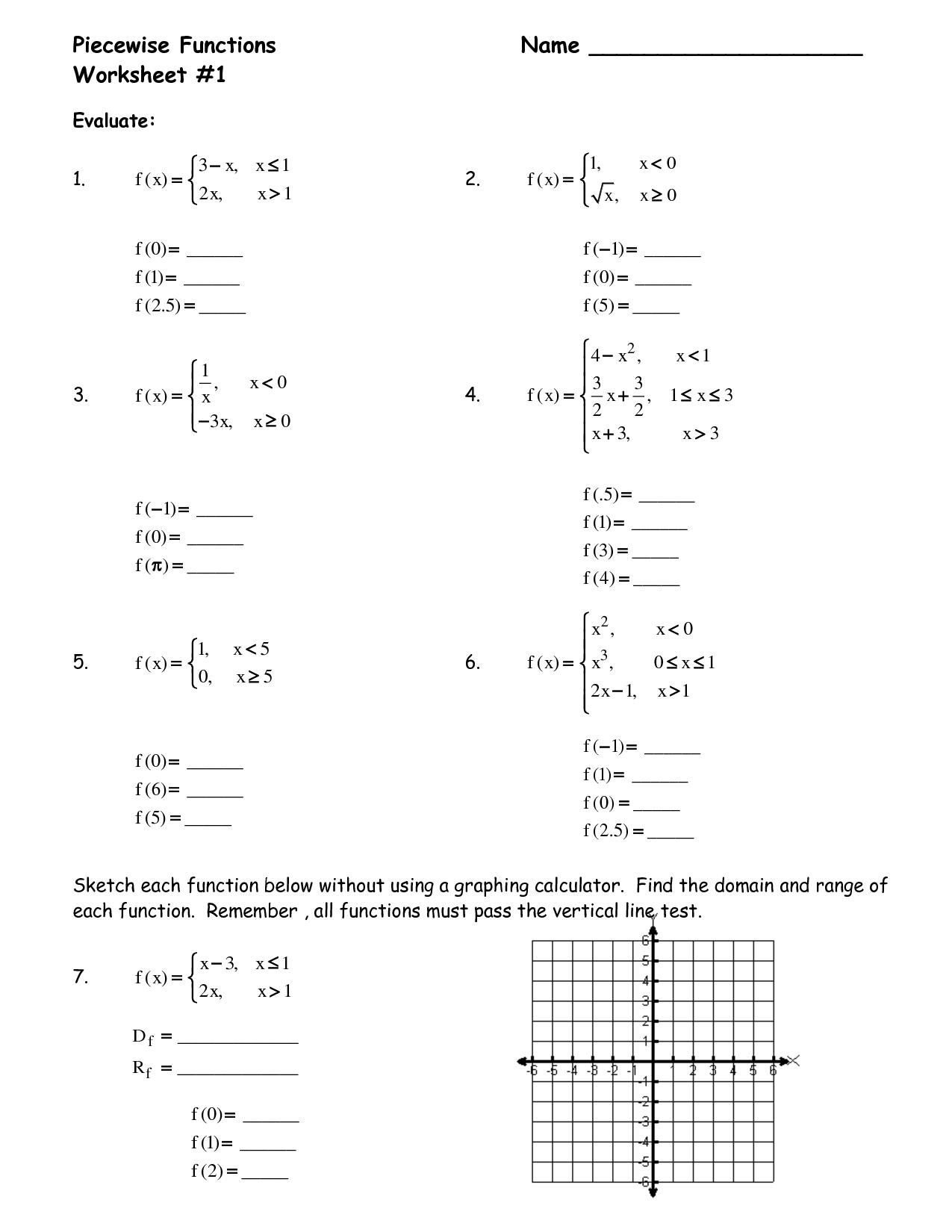 Piecewise Linear Functions Worksheet