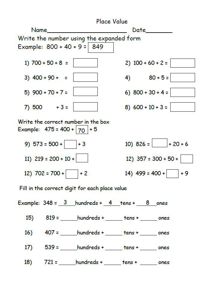 Place Value Worksheets 2nd Grade Place Value Worksheets 2nd Grade