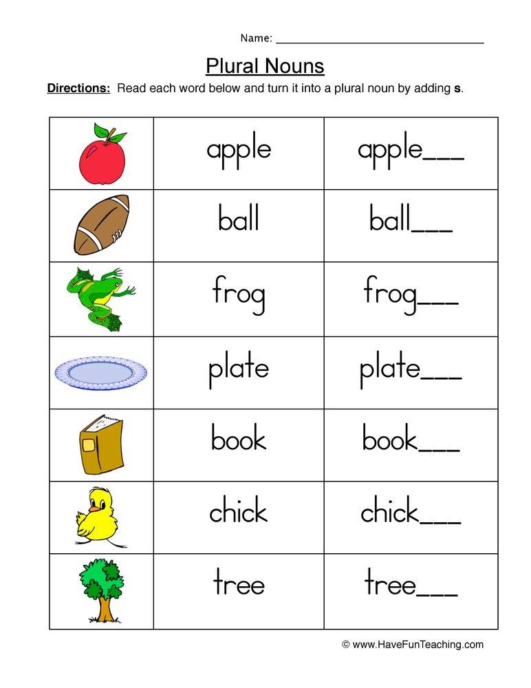 Plural Nouns Worksheet For 1st Grade