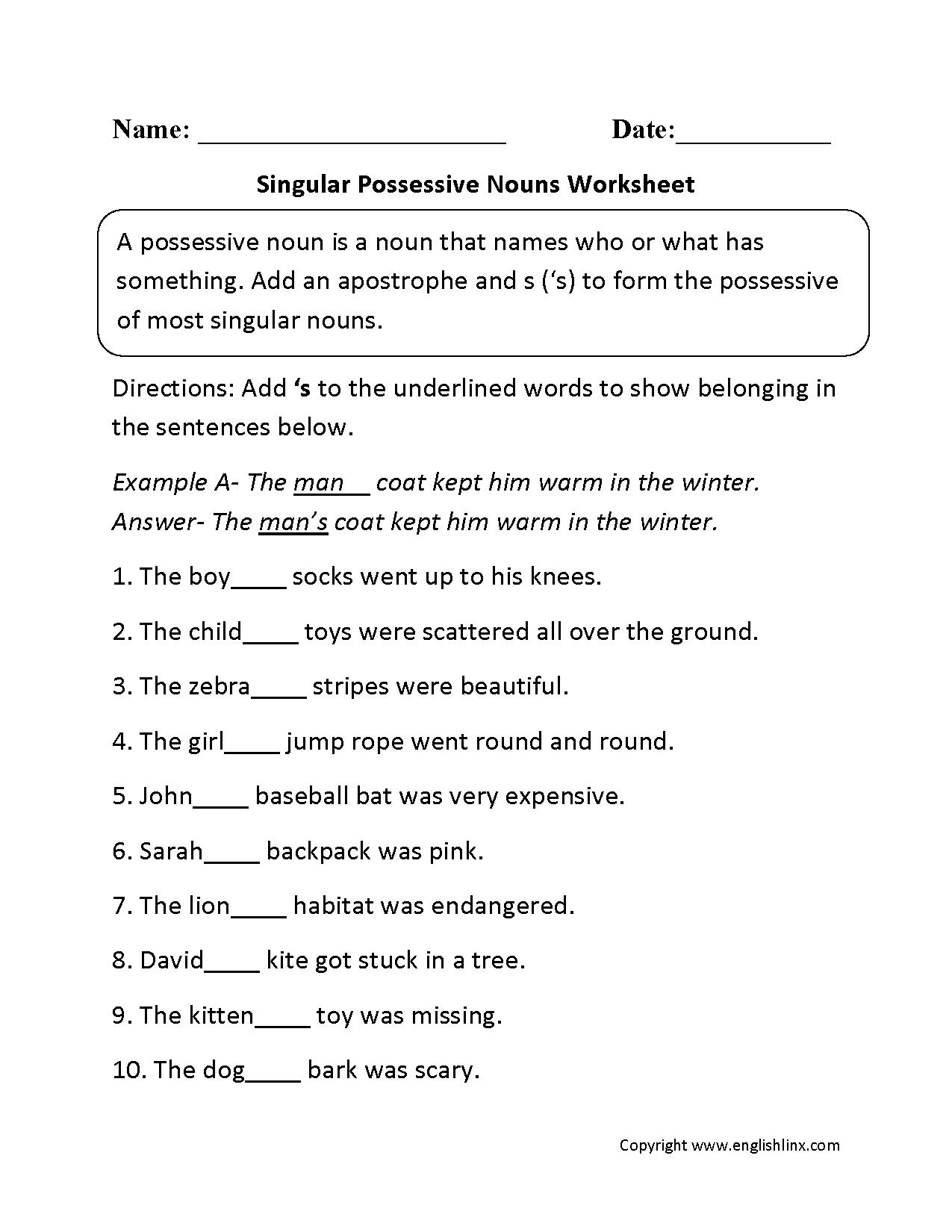 Possessive Noun Worksheets 4th Grade The Best Worksheets Image