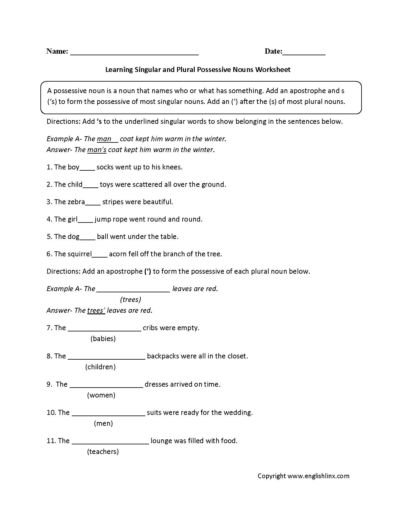 Possessive Nouns Worksheets Free The Best Worksheets Image