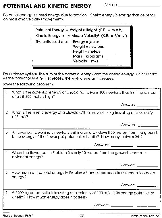 Potential And Kinetic Energy Worksheet Kinetic And Potential