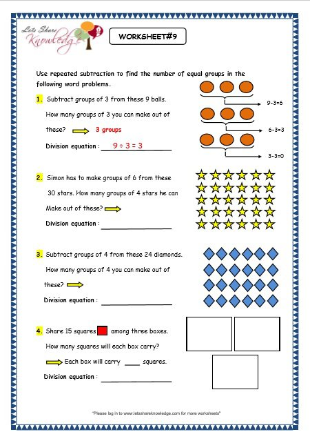 Prepossessing Division With Repeated Subtraction Worksheets On