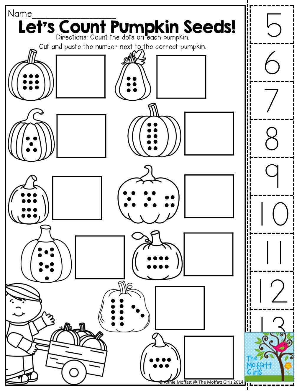 Preschool Math Cut And Paste Worksheets 85908