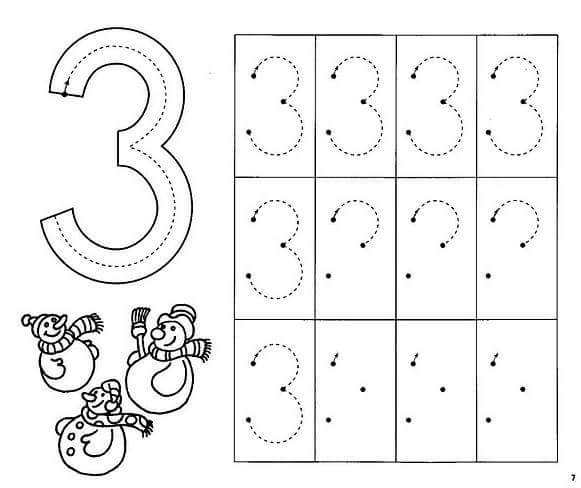 Preschool Worksheets For Number 3 109380