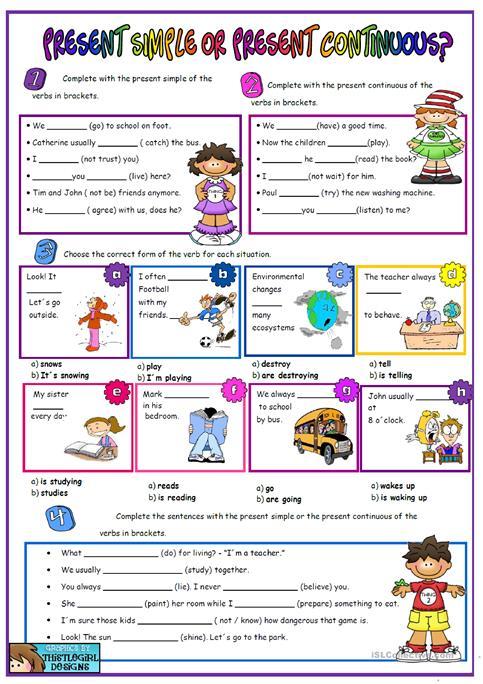 Present Simple Vs Present Continuous Worksheet