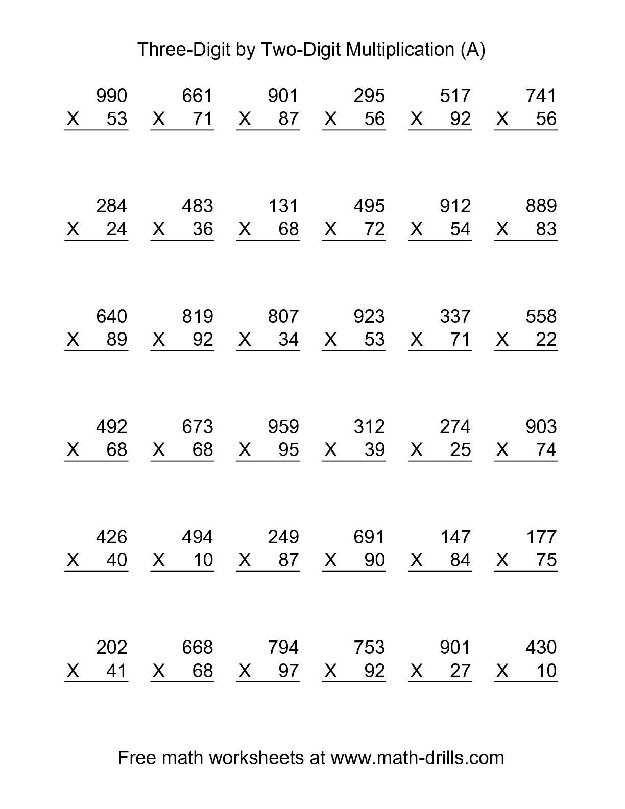 Print 2 Digit Multiplication Worksheets The Best Worksheets Image