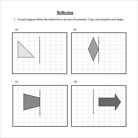 Printable Math Worksheets Reflections 228643