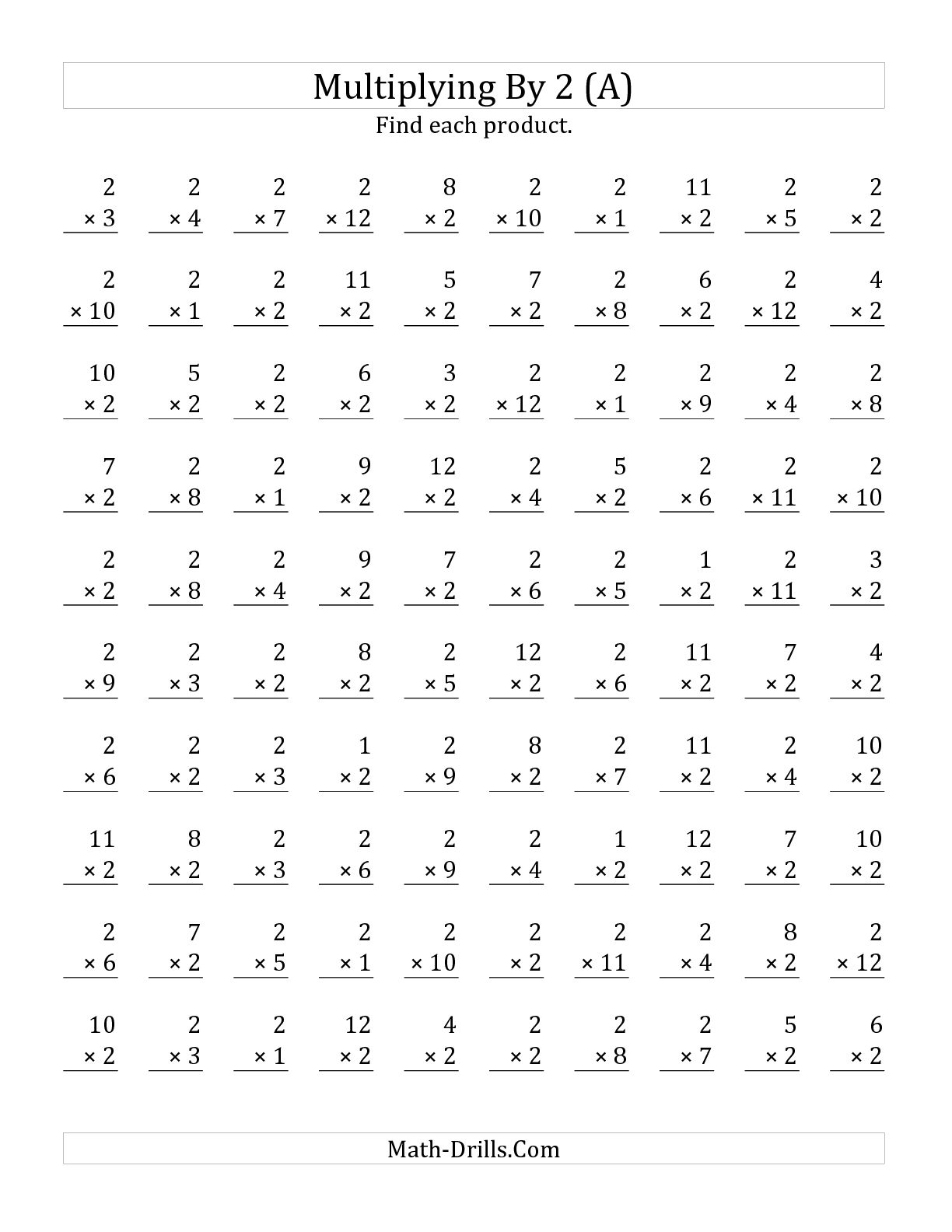 Printable Multiplication Worksheets By 2 The Best Worksheets Image