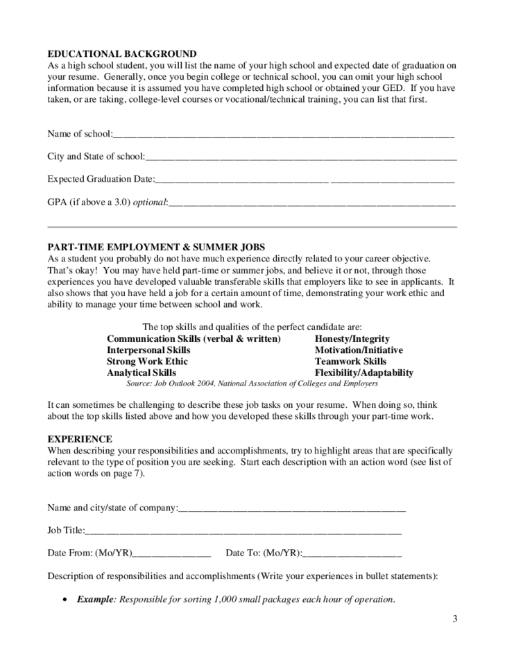 Printable Worksheets For Highschool Students High School Student