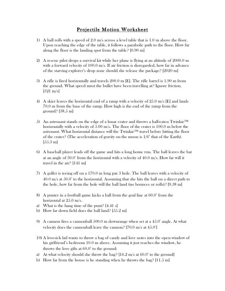 Projectile Motion Worksheet Projectile Motion Worksheet With