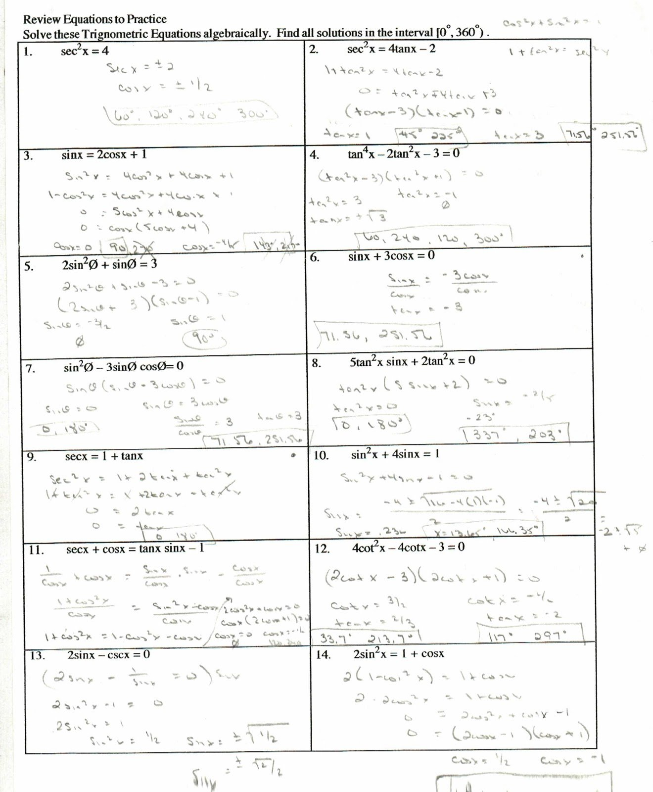Prove Trig Identities Worksheet