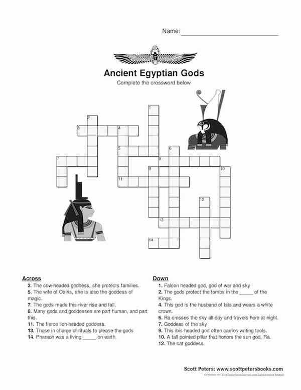 Puzzle  Gods Of Egypt Crossword