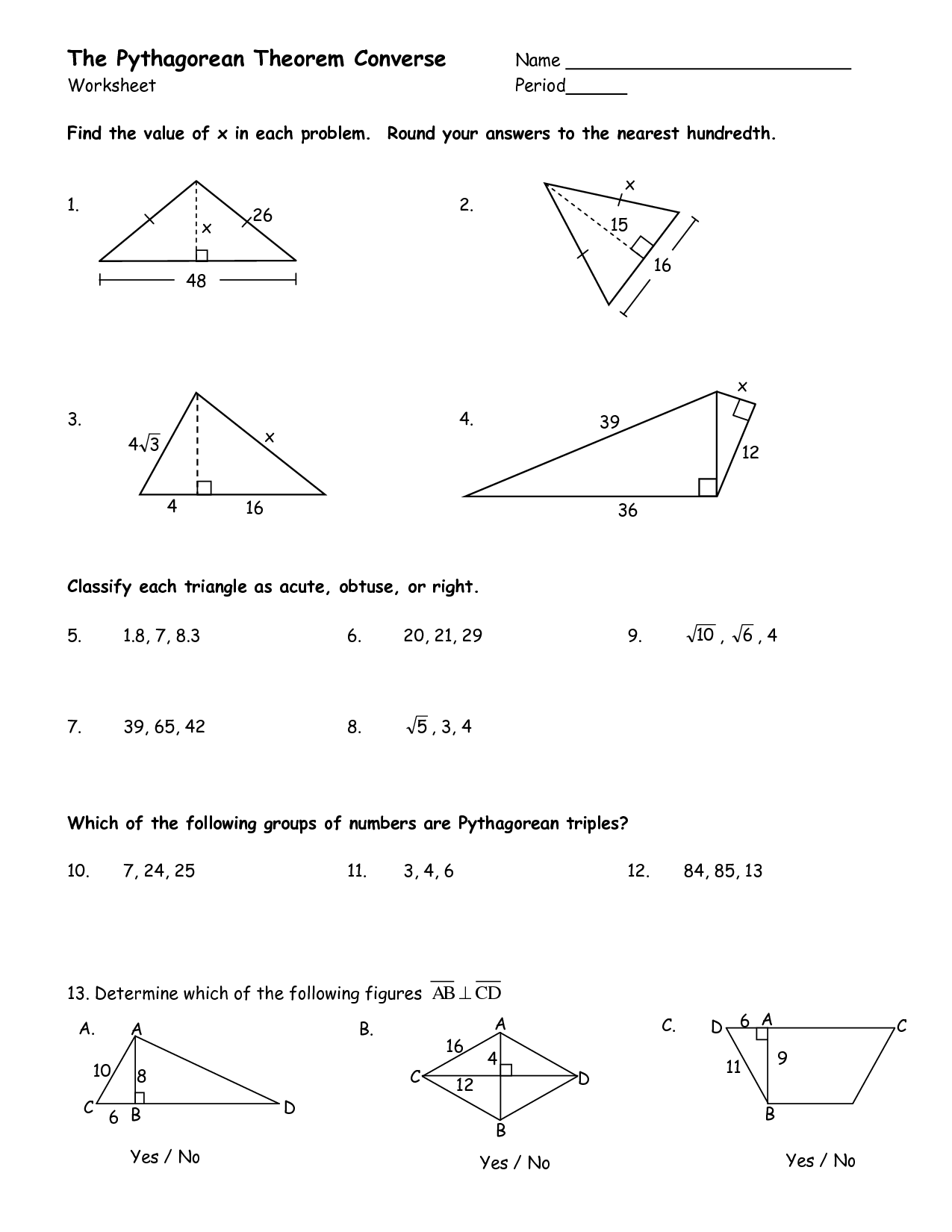 Pythagorean Theorem And Its Converse Worksheets The Best