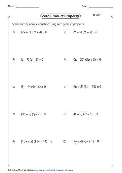 Quadratic Formula Worksheet Quadratic Equation Worksheet Quadratic