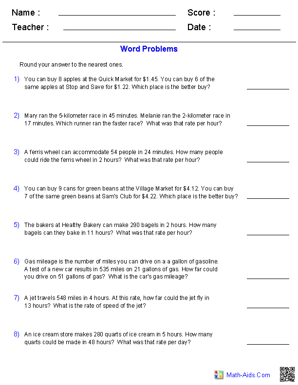 Rate And Ratio Math Worksheet The Best Worksheets Image Collection