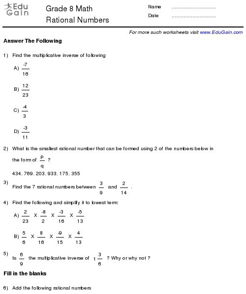 Rational Numbers Worksheet Class 8 Rational Numbers Worksheets